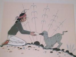 1960's Navajo ROBERT CHEE (Boy & Lamb) Gouache on Paper Art Framed Matte... - $400.00