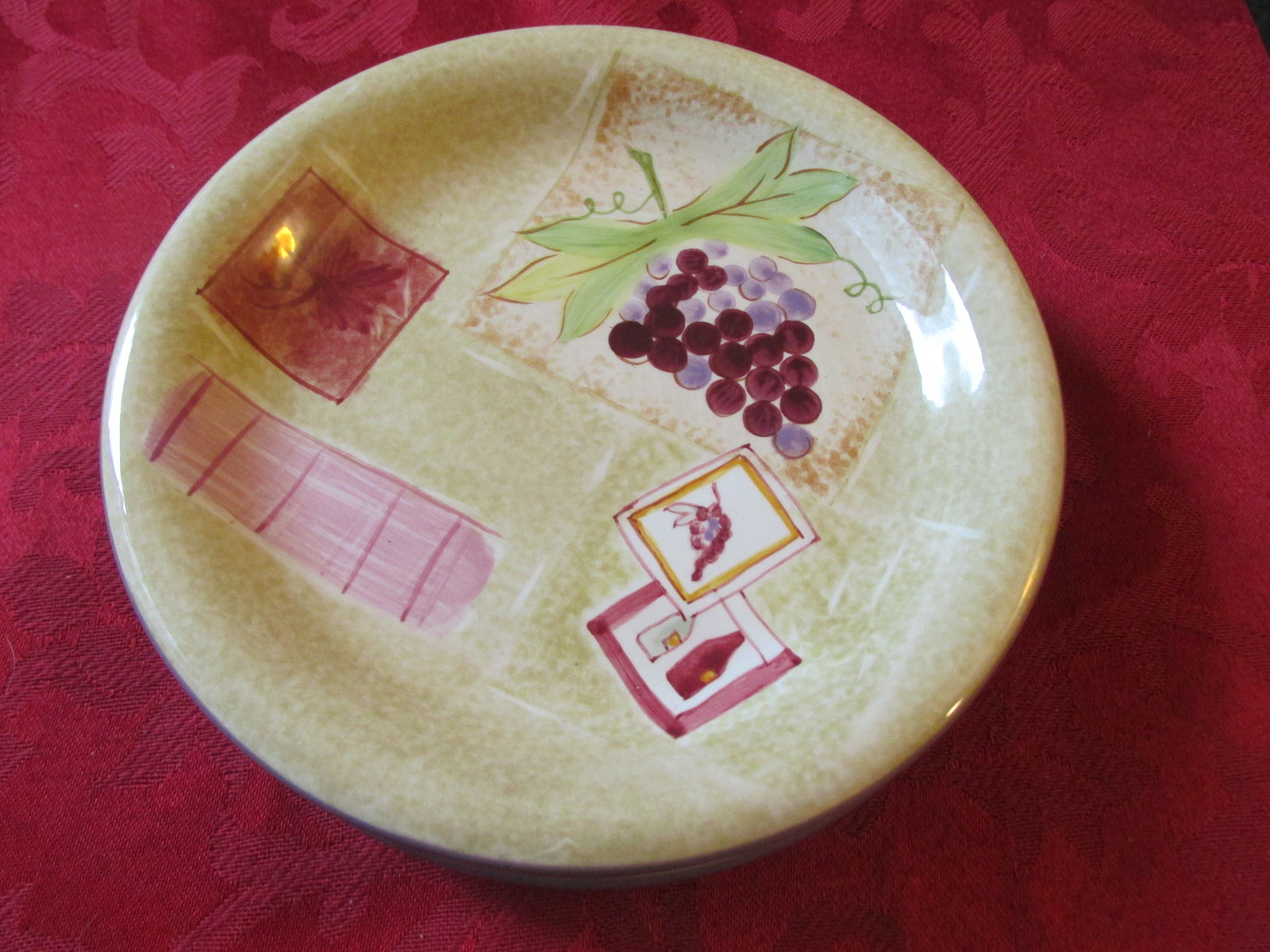 """Three Nantucket Home Bread and Butter Plates 6 1/4"""" With Grapes Pattern"""