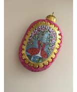 G. Debrekht Russian Carved Pink Flamingo & Flower Christmas Ornament - $34.95