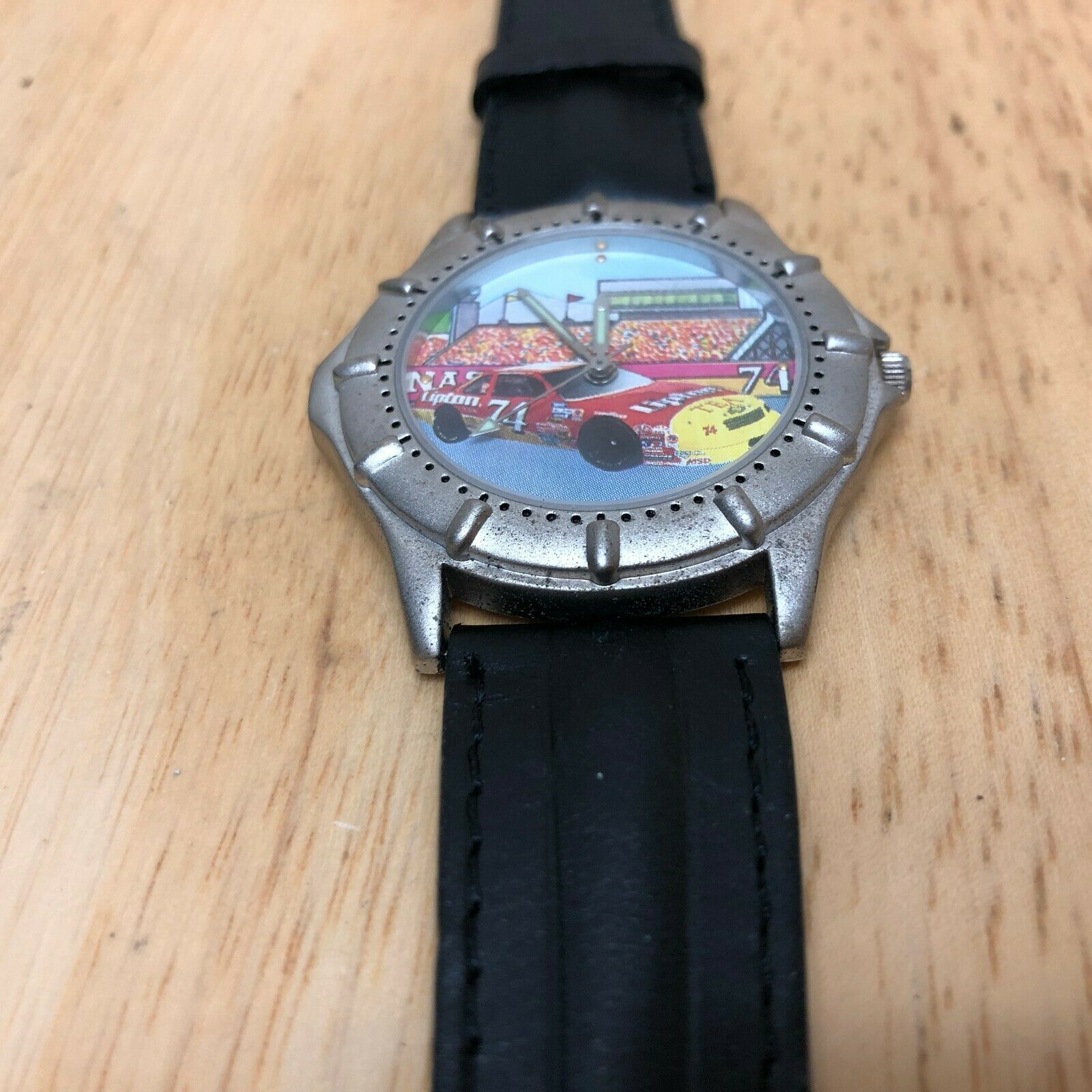 Vintage Lipton Tea Racing By Valdawn Mens Leather Quartz Watch Hours~New Battery image 2