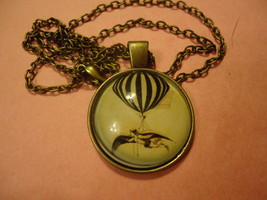 Girl Flying Hot Air Balloon Glass Cabochon Pendant Necklace C/S & H Available - $2.50