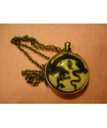 CHINESE DRAGONS GLASS CABOCHON PENDANT NECKLACE       C/S & H AVAILABLE  - $2.00