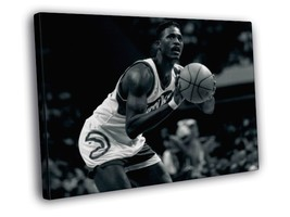 Dominique Wilkins Free Throw Atlanta Hawks BW NBA Basketball Framed Canv... - $14.96