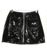 1990s vintage black sexy skirt vinyl pvc mod mi... - $44.54