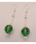 Dangle Green Faceted Glass 12mm Ball Earrings S... - $12.95