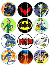 BATMAN:  12 edible image cupcake toppers 2.25 i... - $8.78 - $8.78