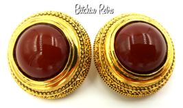 Ginnie Johansen Vinatge Egyptian Revival Earrings With Brick Red Cabochon - $15.00