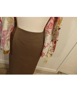 Wome M L 12 14 Knee Career Midi Brown Straight Solid Skirt Work Evening ... - $13.12