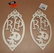 """Halloween Wooden Laser Tags Plaques Crafts Creatology 8"""" x 4"""" RIP Signs ... - $4.49"""