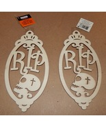"Halloween Wooden Laser Tags Plaques Crafts Creatology 8"" x 4"" RIP Signs ... - $4.49"
