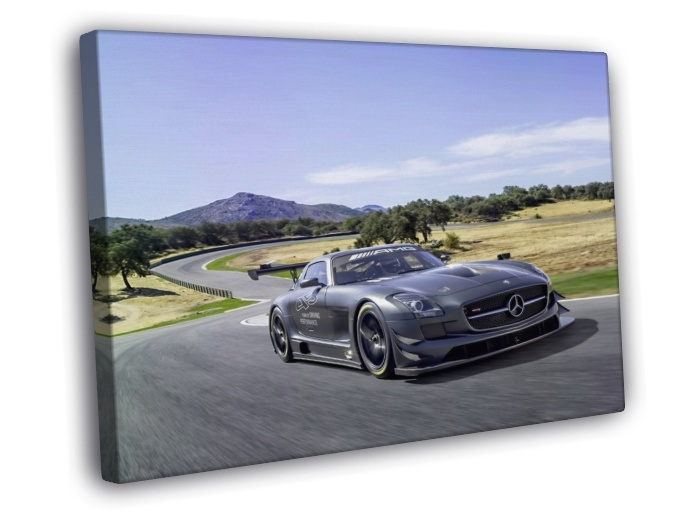 Cool mercedes benz racing chasing track car 16x12 framed for Mercedes benz wall posters