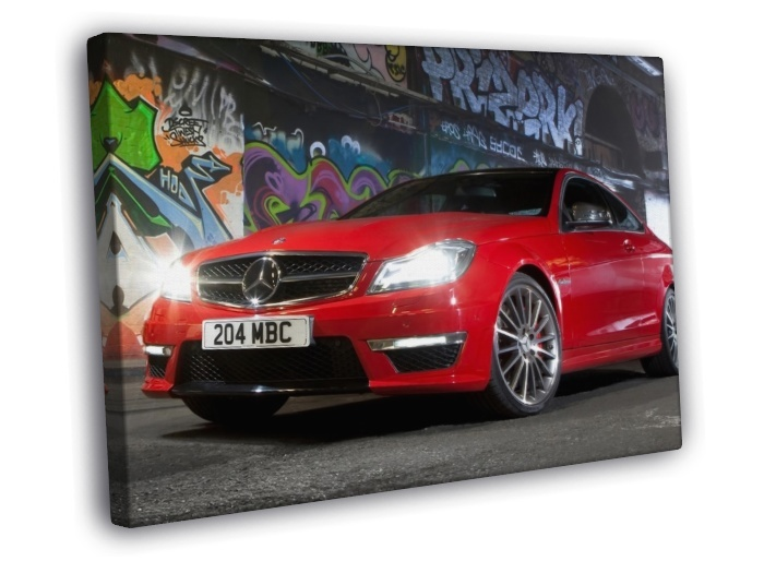 Mercedes benz graffiti wall red car 16x12 framed canvas for Mercedes benz wall posters
