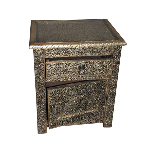 White Marble Arabesque Side Table: Moroccan Drawer Nightstand End Table Silver Etched Metal