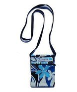 Handmade in Hawaii Cotton Mini Cross Body Bag Purse Large Print Blue Floral - $9.99