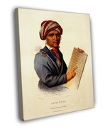 Sequoyah Cherokee Alphabet Vintage Illustration 16x12 FRAMED CANVAS - $25.46