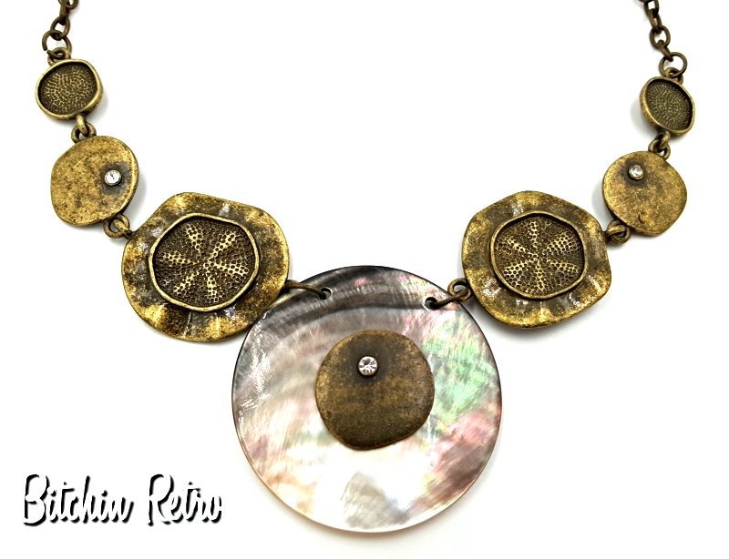 Primary image for VCLM  Beachy Statement Necklace with Rhinestones and Sand Dollars