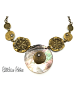 VCLM  Beachy Statement Necklace with Rhinestones and Sand Dollars - $23.00