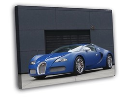 cars Bugatti Veyron blue 30x20 FRAMED CANVAS - $19.95