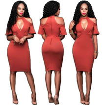 Sexy Cut-Out Plain Bodycon Dress  - $27.95