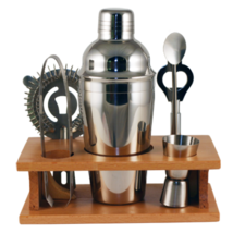 6 Piece Stainless Steel Shaker Set with Wood Stand - $52.99