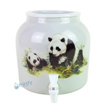 Panda Water Crock Dispenser Ceramic Porcelain Pot Spigot Faucet Valve 2.... - $42.05