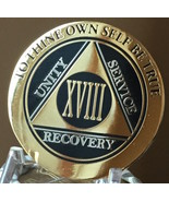 18 Year AA Medallion Black Gold Plated Bi-Plate Alcoholics Anonymous Chi... - £14.64 GBP