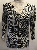 Chico's Women Boho Tunic Black White Silk Blend Palm Print Top Shirt Size 0 - $29.32