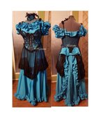Masquerade saloon costume western teal turquois... - $148.00