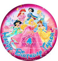 DISNEY PRINCESS, AGE IN TIARA: ROUND Personalized edible image cake topper - $8.78+