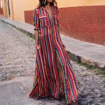 High Split Long Dress Women Colorful Striped Print Boho - $18.97+