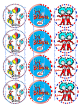 DR SEUSS, THING 1, THING 2 :  12 edible image cupcake toppers 2.25 inch ... - $8.78+