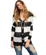 Casting Womens Black White Striped Knit Cardigan Sweater - $17.11