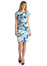AGB Womens Floral Belted Sheath Dress Original ... - $19.01