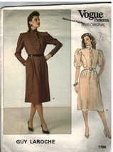 1184 Vintage Vogue Sewing Pattern Misses Dress Semi Fitted Bodice Guy La... - $9.99