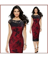 Elegant Black Crochet Butterfly Lace and Sequins Overlaid Red or Black S... - $78.95