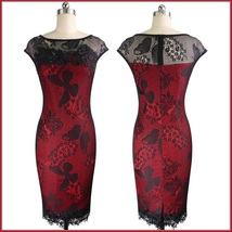 Elegant Black Crochet Butterfly Lace and Sequins Overlaid Red or Black Sheath  image 2