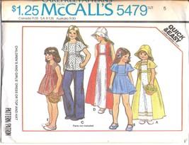 5479 Vintage McCalls Sewing Pattern Girls Dress Top Hat Carefree 5 Quick... - $4.19