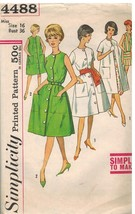 4488 Vintage Simplicity Sewing Pattern Misses One Piece Dress Unlined Co... - $4.19