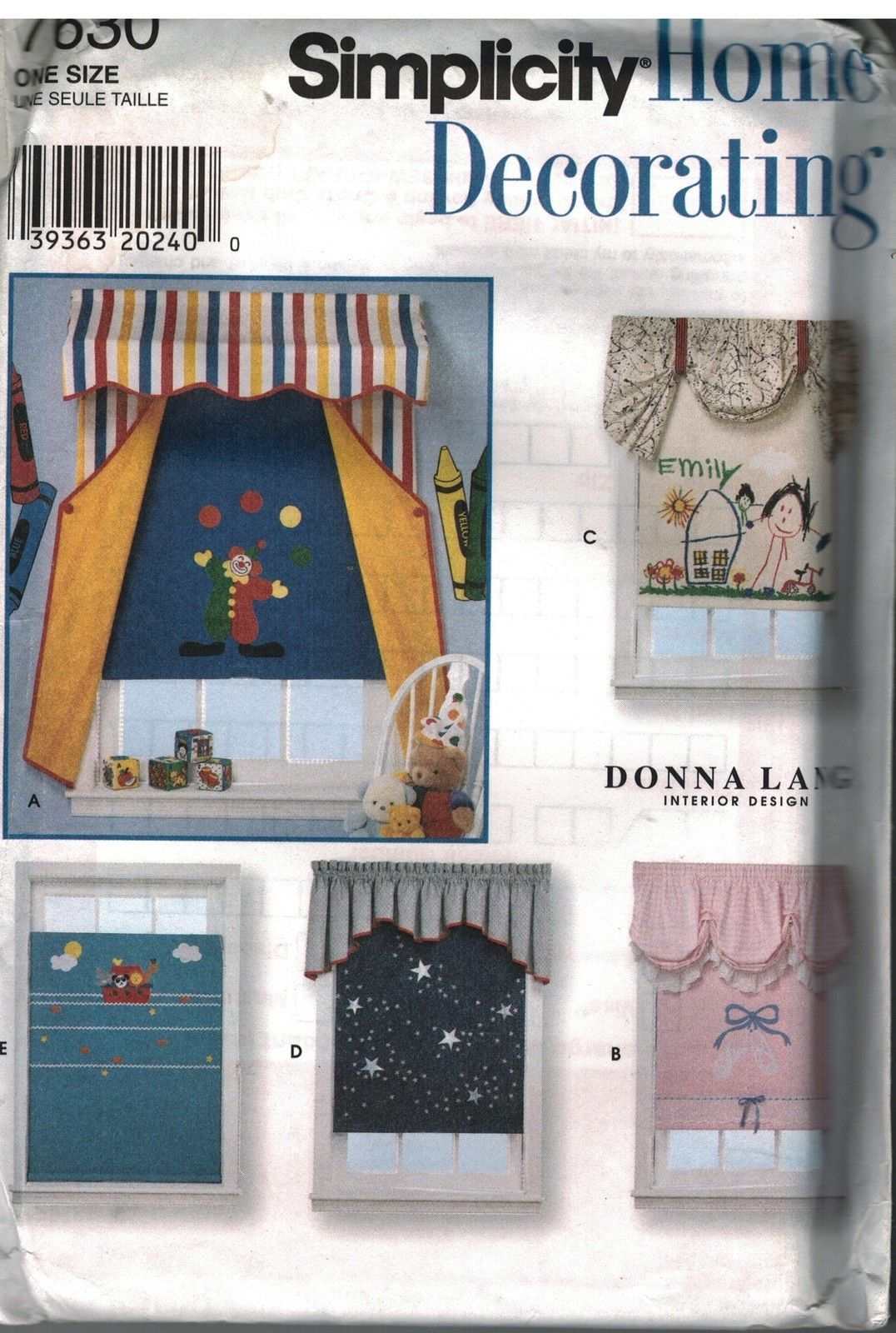 7630 UNCUT Simplicity Sewing Pattern Home Decor Window Treatments Valances Shade