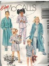 6148 Vintage McCalls Sewing Pattern Girls Robe Tie Belt Nightshirt Pajam... - $4.95