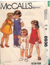 6936 Vintage McCalls Sewing Pattern Girls Jumper Jumpsuit Appliques OOP ... - $4.33