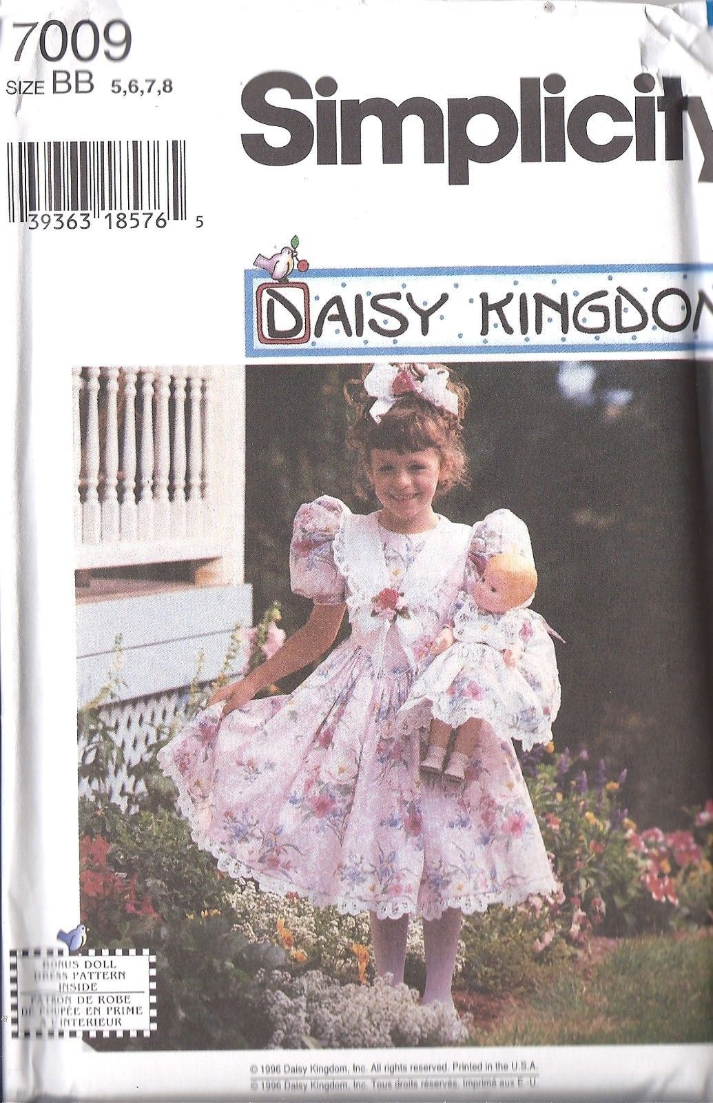 7009 UNCUT Simplicity Vintage Sewing Pattern Girls Daisy Kingdom Dress + Doll FF