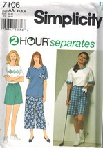 7106 UNCUT Simplicity SEWING Pattern Misses Top Pants Shorts 2 Hour Separates FF - $4.89