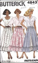 UNCUT Vintage Butterick Sewing Pattern Misses Flared Button Up Skirt 4843 8 - 12 - $4.33