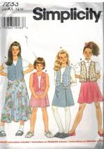 7233 Vintage Simplicity SEWING Pattern Childs Vest Skirt UNCUT Casual Pl... - $4.91