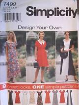 7499 UNCUT Simplicity SEWING Pattern Misses EASY Dress Vintage OOP SEW - $4.89