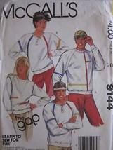 VINTAGE McCalls Pattern 9144 UNISEX Stretch Knit Tops - $4.89
