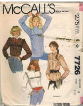 7726 Vintage McCalls Sewing Pattern Misses Front Buttoned Blouse Casual ... - $4.95