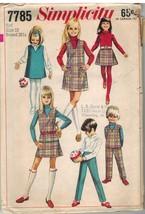 7785 Vintage Simplicity Sewing Pattern Girls Jumper Top Skirt Pants OOP ... - $4.89