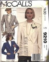 Vintage McCalls SEWING Pattern Misses Loose Fitting Lined Jacket Career 9210 OOP - $6.99